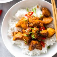 Bourbon Chicken is one of our favorite easy Chinese Takeout meals to make at home on busy nights. This Bourbon Chicken Recipe is the best sweet and spicy chicken recipe, with the best bourbon chicken sauce. Even better, you can make it in minutes! So much flavor and so little fuss!