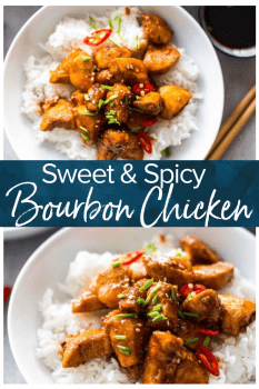 Bourbon Chicken is one of our favorite easy Chinese Takeout meals to make at home on busy nights. This Bourbon Chicken Recipe is the best sweet and spicy chicken recipe, with the best bourbon chicken sauce.