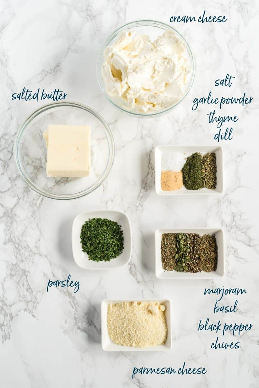 Boursin cheese ingredients in separate dishes with text listing the ingredients.