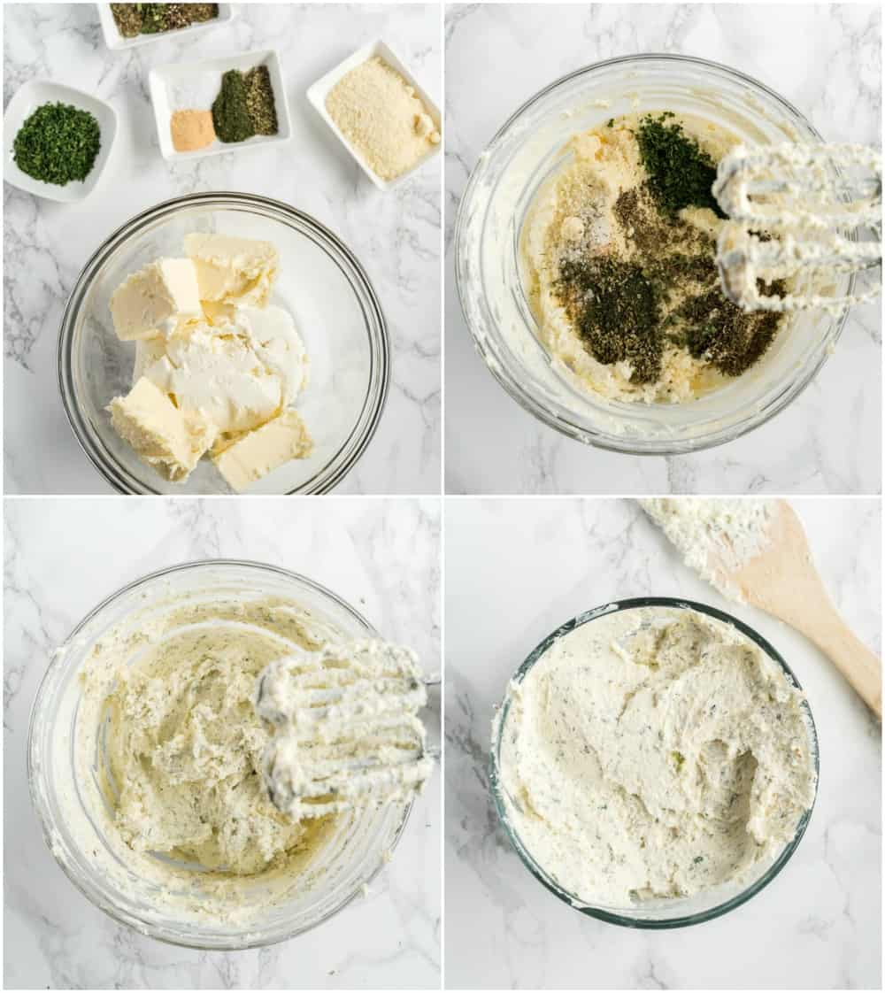 Photo collage of boursin cheese ingredients being added and mixed with hand mixer.