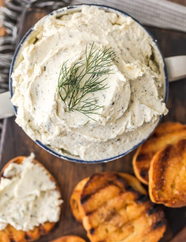 Boursin Cheese in a bowl with toasted bread