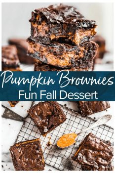 Pumpkin Brownies are an easy fall dessert recipe perfect for Halloween or Thanksgiving. Add a layer of pumpkin to your brownies for something fun and delicious!