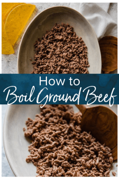 Wondering how to cook ground beef? Frying is a popular option, but boiling ground beef is easy, quick, and it creates leaner meat! Cooking ground beef with this method creates the perfect crumbled ground beef for tacos, chili, spaghetti sauce, and more. #thecookierookie #beef #groundbeef #boiledbeef #cooking #tacos