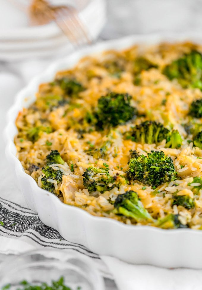 Close up of cheesy broccoli and rice casserole