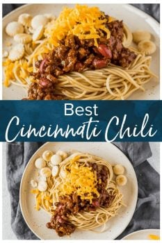 Cincinnati Chili is loaded with ground beef, beans, and onions in the most unique sauce, served on a pillow of spaghetti. Both savory and sweet, this Cincinnati Chili recipe is a must for any chili lover!