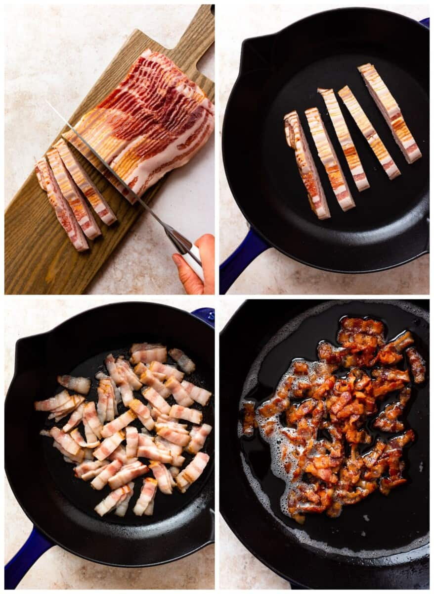 step by step photos for how to make bacon crumbles