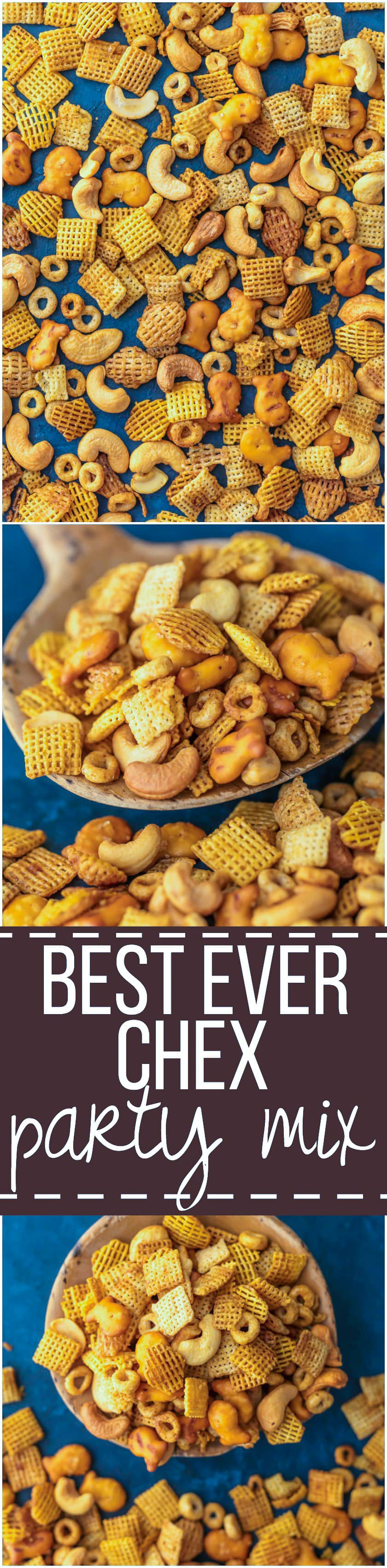 BEST EVER CHEX PARTY MIX is the ultimate holiday appetizer! Our family has this PERFECT cereal party mix in bulk every Christmas. SO ADDICTING!