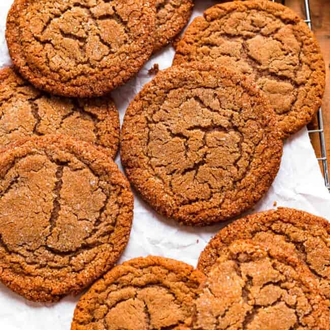 soft molasses cookies on a plate