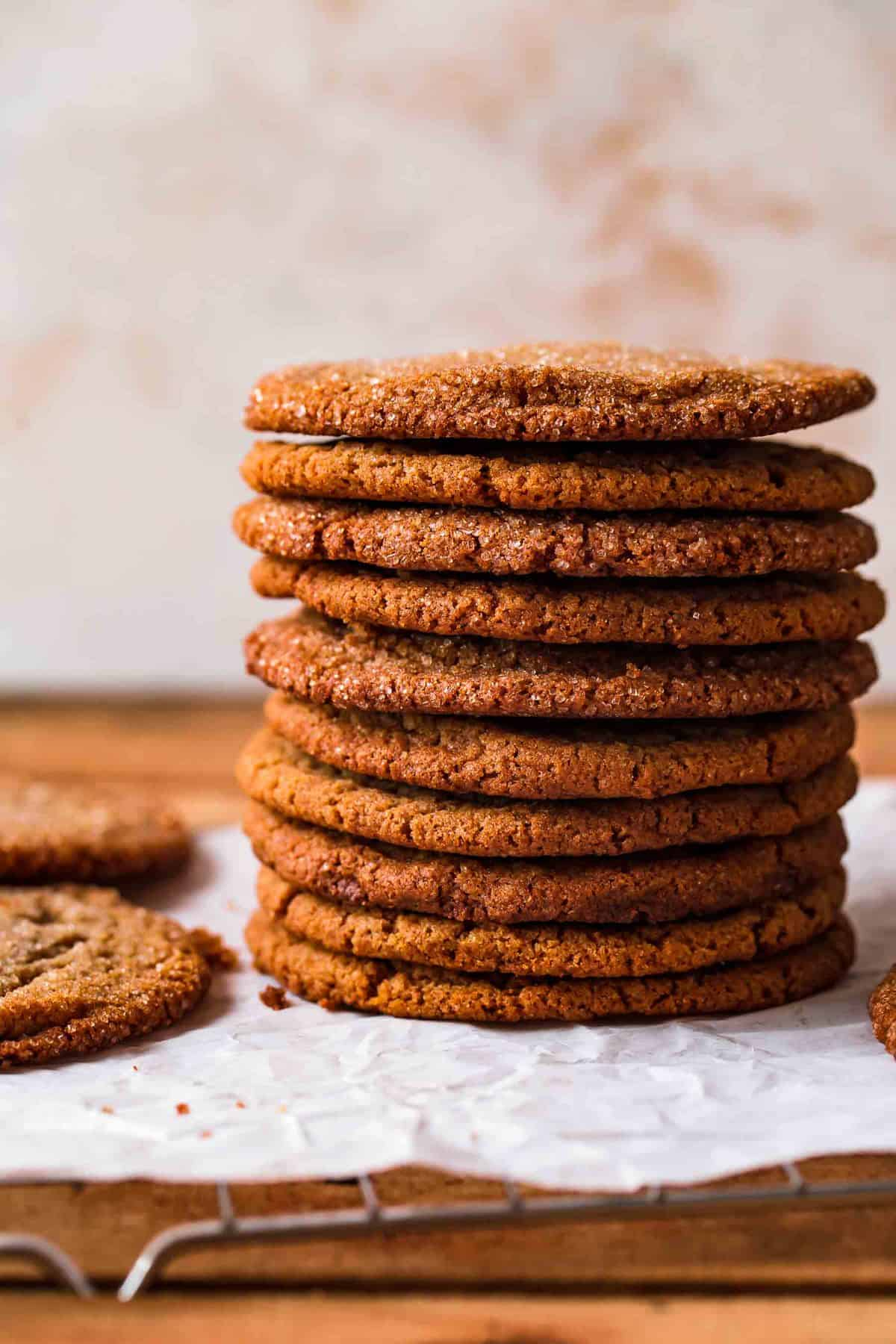 a stack of Soft Molasses Cookies