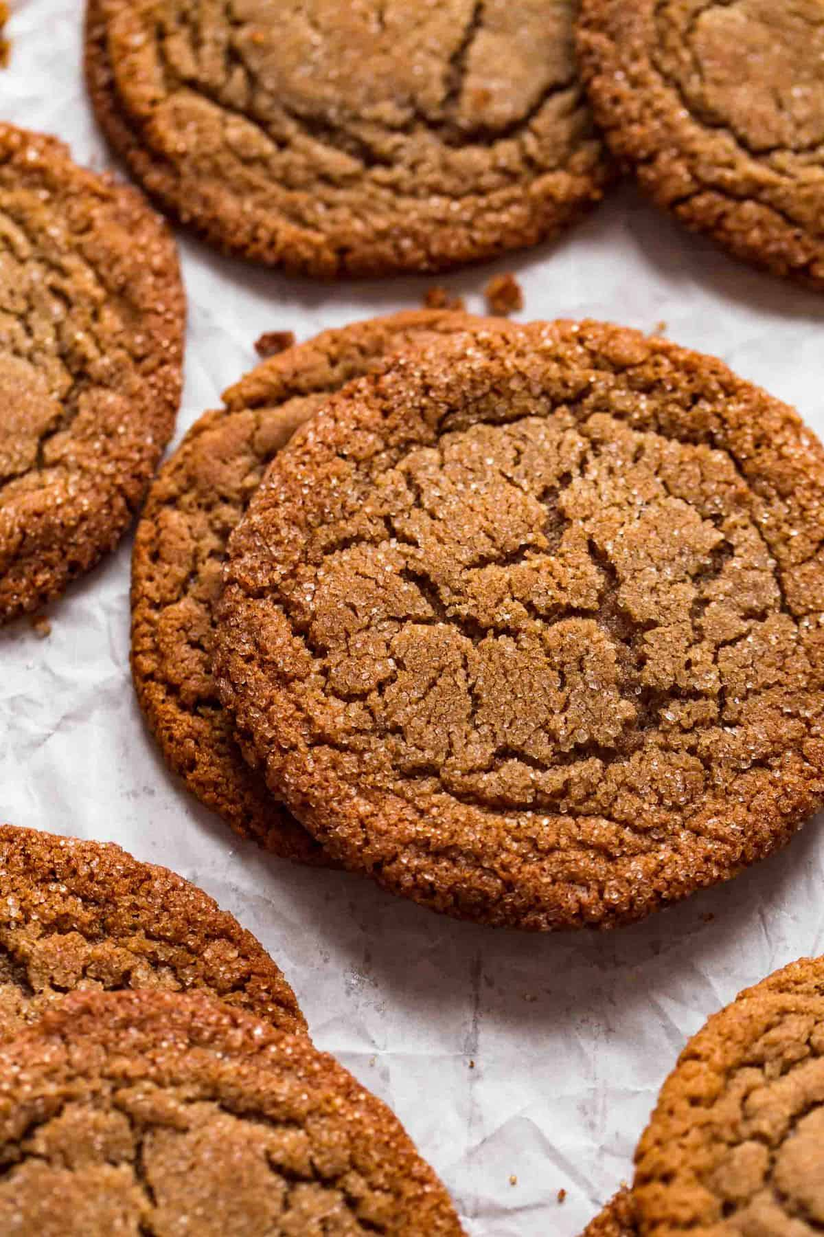 close-up view of the baked cookies