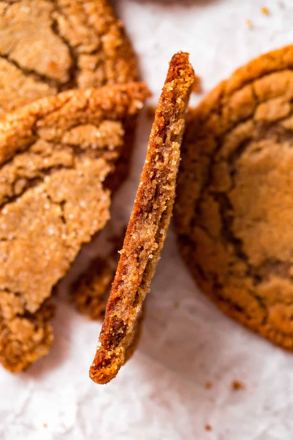 close up on the inside of molasses cookies
