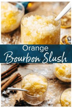 This Bourbon Slush cocktail drink is loved by all who come to my house on Christmas Eve. We have this Orange Bourbon Slush every year and it's such a fun and easy drink recipe, you have no reason not to try it!