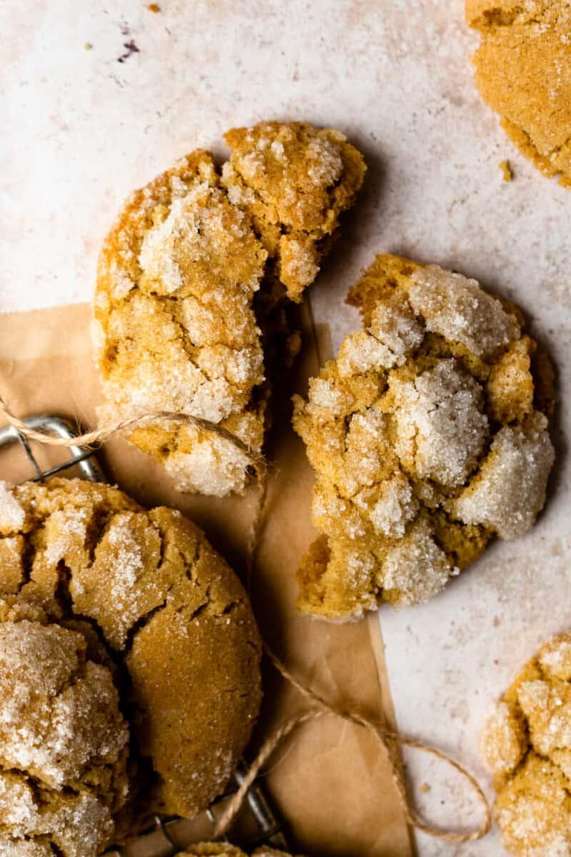 ginger cookie broken in half