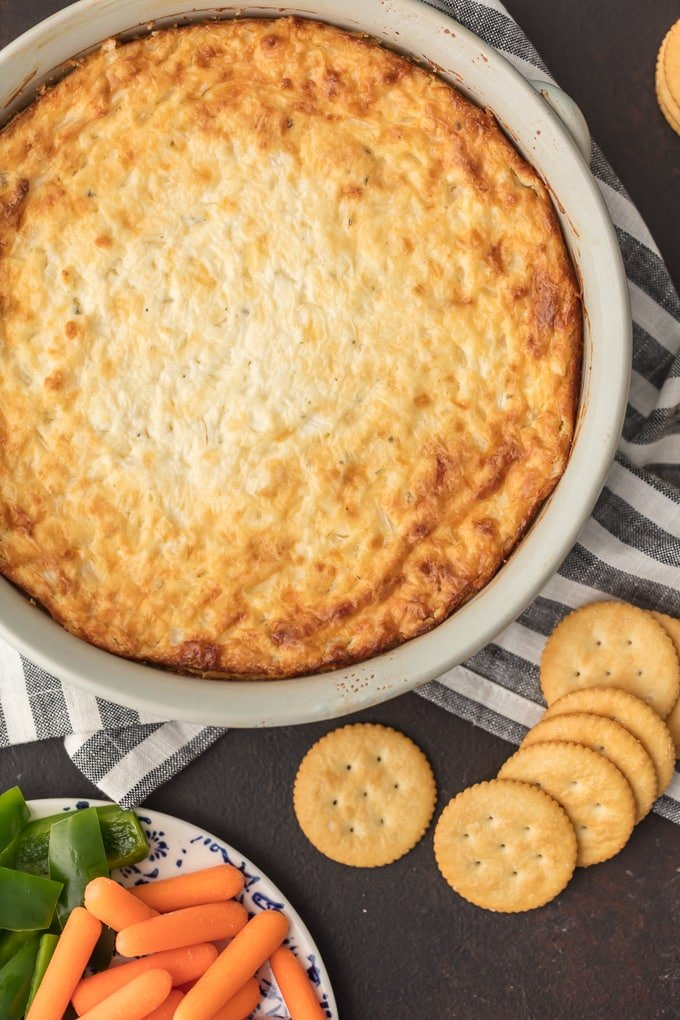 Hot Onion Dip in large white bowl