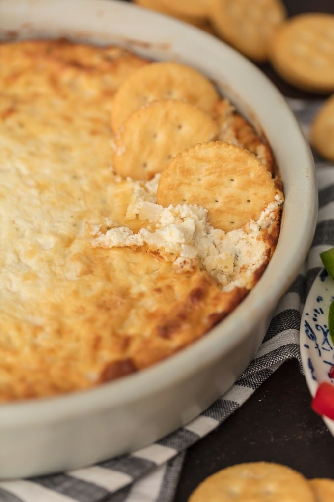 Close up of hot onion dip recipe in white dish