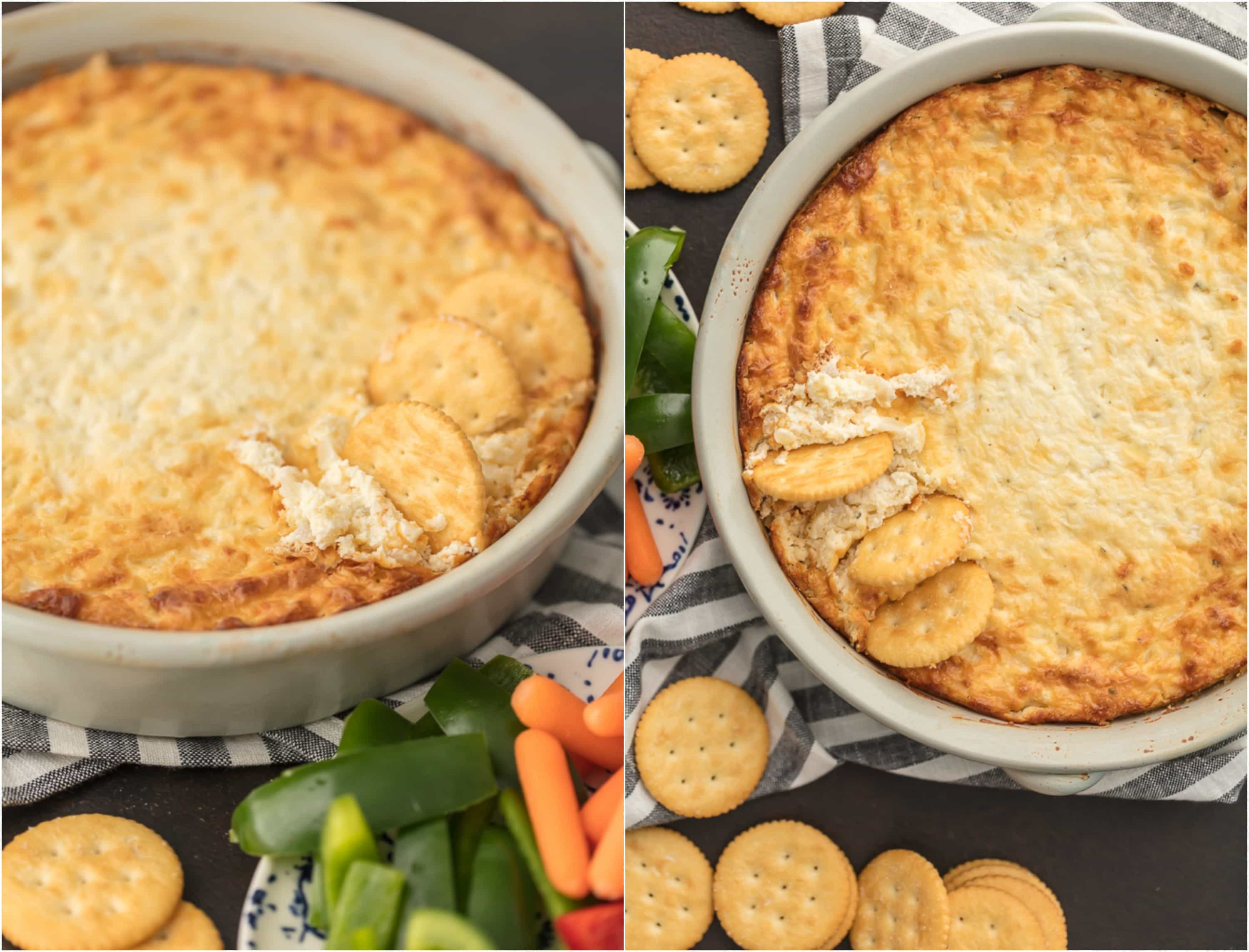 Hot Onion Souffle Dip with crackers and vegetables