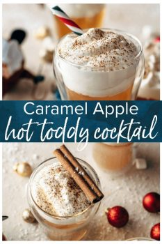 This Caramel Apple Hot Toddy Cocktail is the perfect winter drink! This apple cider hot toddy is so warming, comforting, and tasty. The best holiday cocktail!