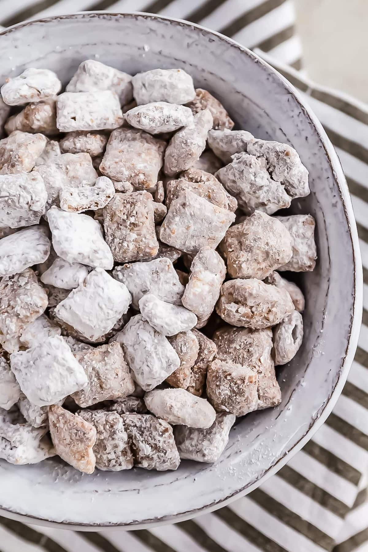 puppy chow in a large white bowl