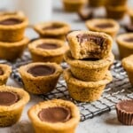 Peanut Butter Cup Cookies are the perfect little treat. Mini peanut butter cups are baked right into tart shaped cookies for a delicious bite-sized dessert. Everyone will eat these Reese's Cup Cookies right up because no one can resist chocolate peanut butter cookies!