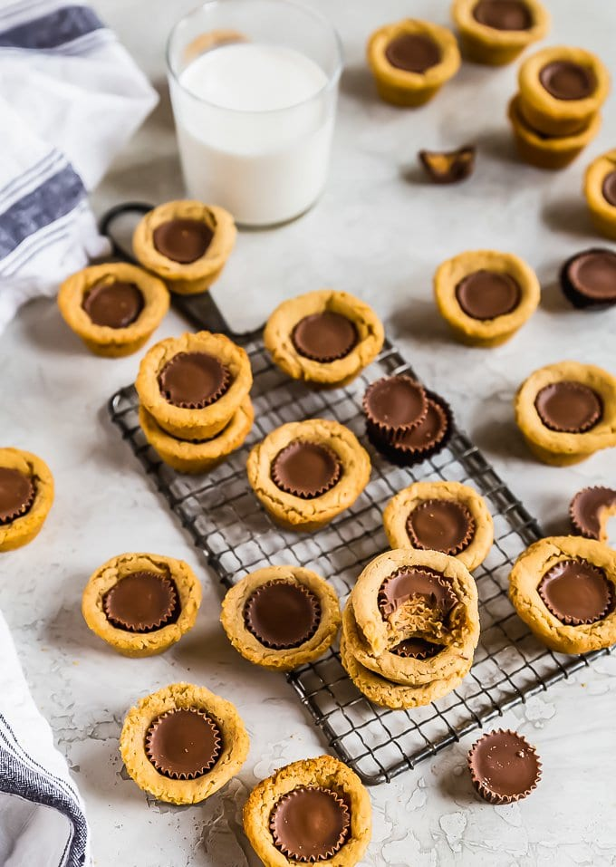 Reese's cup cookies arranged on a table