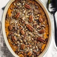 This Sweet Potato Casserole with Pecan Topping is a Thanksgiving classic. Prep this make ahead sweet potato casserole the night before and bake it before your holiday meal!