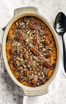 sweet potato casserole in a baking dish
