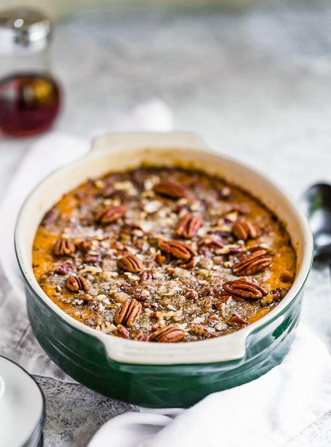 Easy sweet potato casserole in baking dish