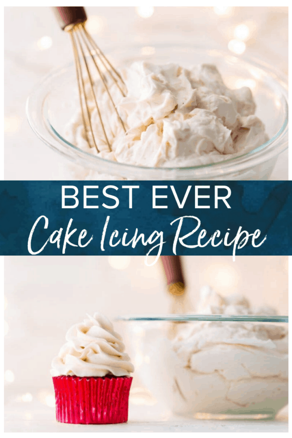images of a cupcake and bowl of icing with text that reads: best ever cake icing recipe