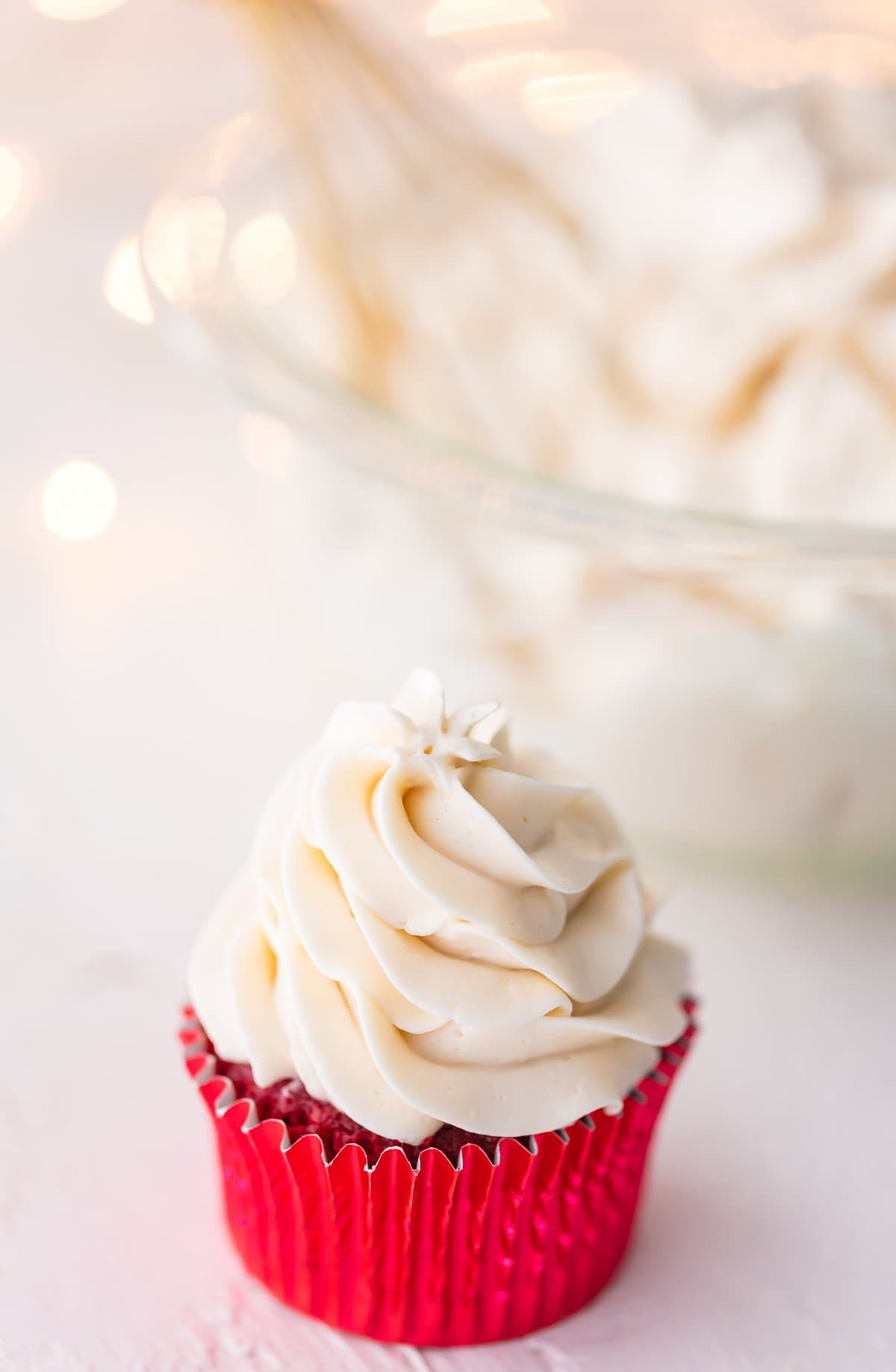 A cupcake topped with icing