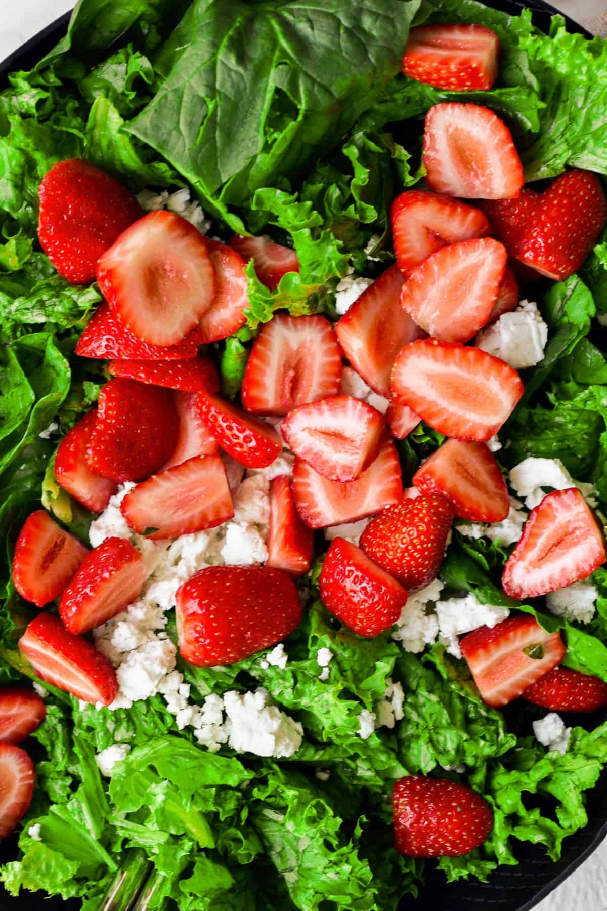 close up on strawberry salad