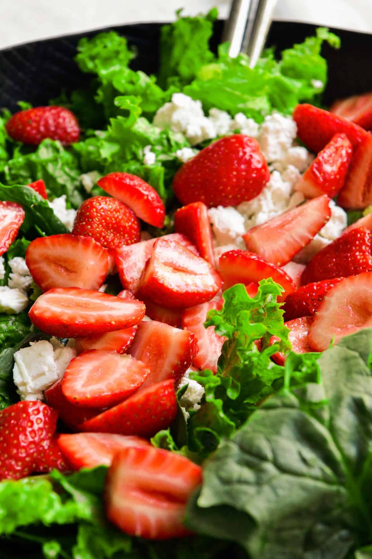 mixed greens, strawberries, and feta cheese