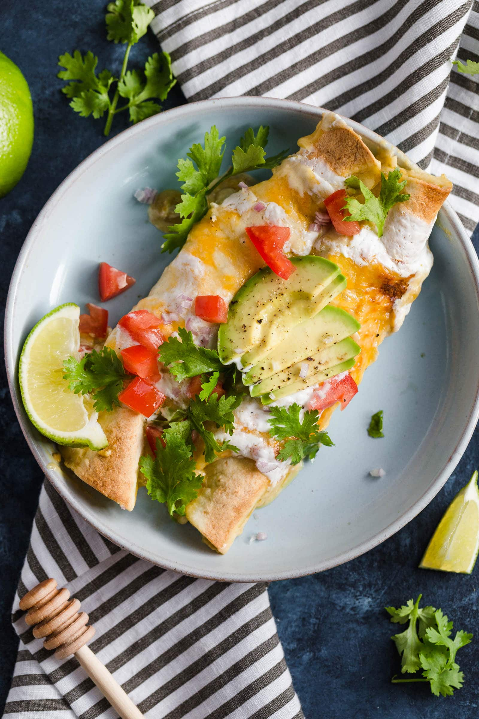 Honey Lime Chicken Enchiladas on a plate