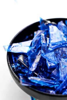 blue rock candy in a bowl