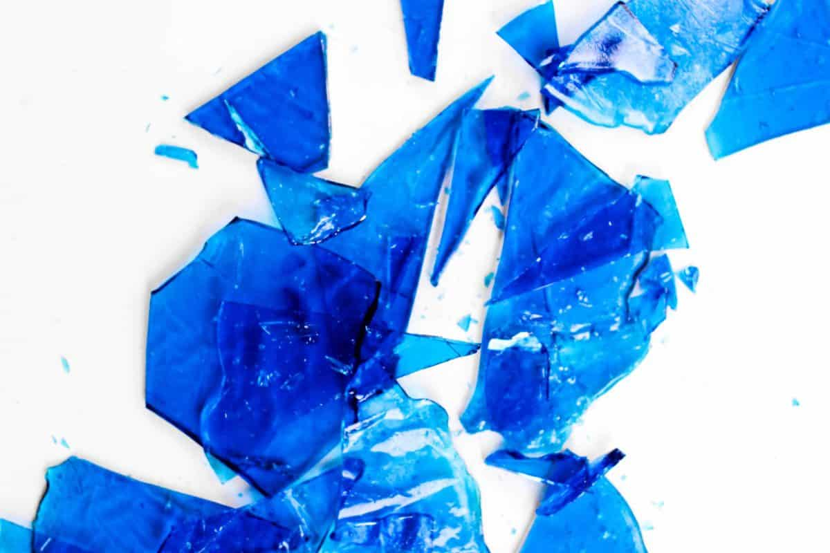 pieces of shattered blue candy