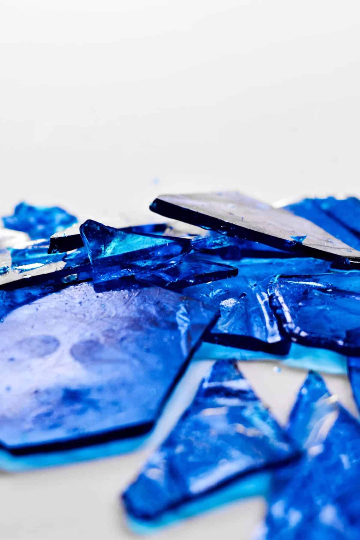 close up on pieces of blue hard candy