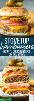 Stovetop Burgers are easier than you might think! Once we learned How to Cook Burgers on the Stove it's our go-to easy dinner for anytime of year. Cooking Burgers on the Stove is a great way to make sure you cook a JUICY and PERFECT Stovetop Burger each and every time. Hamburgers on the Stove is the only way to cook cheeseburgers!