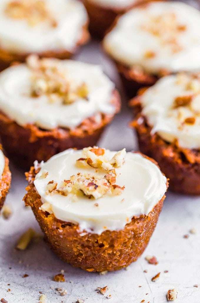 Frosted pecan pie muffins