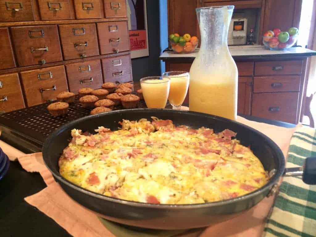 mom's apple and gruyere frittata in a pan