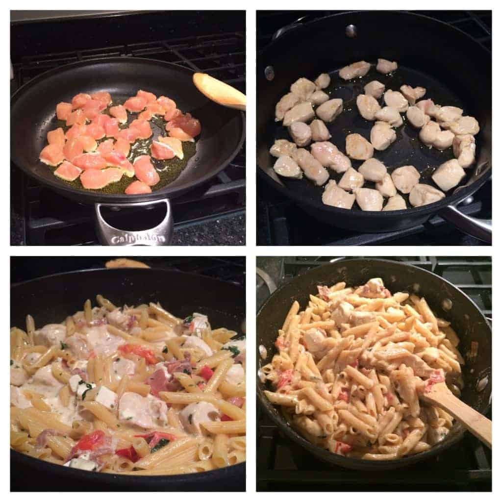 Four shot of chicken cooking in a skillet, all ingredients cooking in skillet and finished product in the skillet