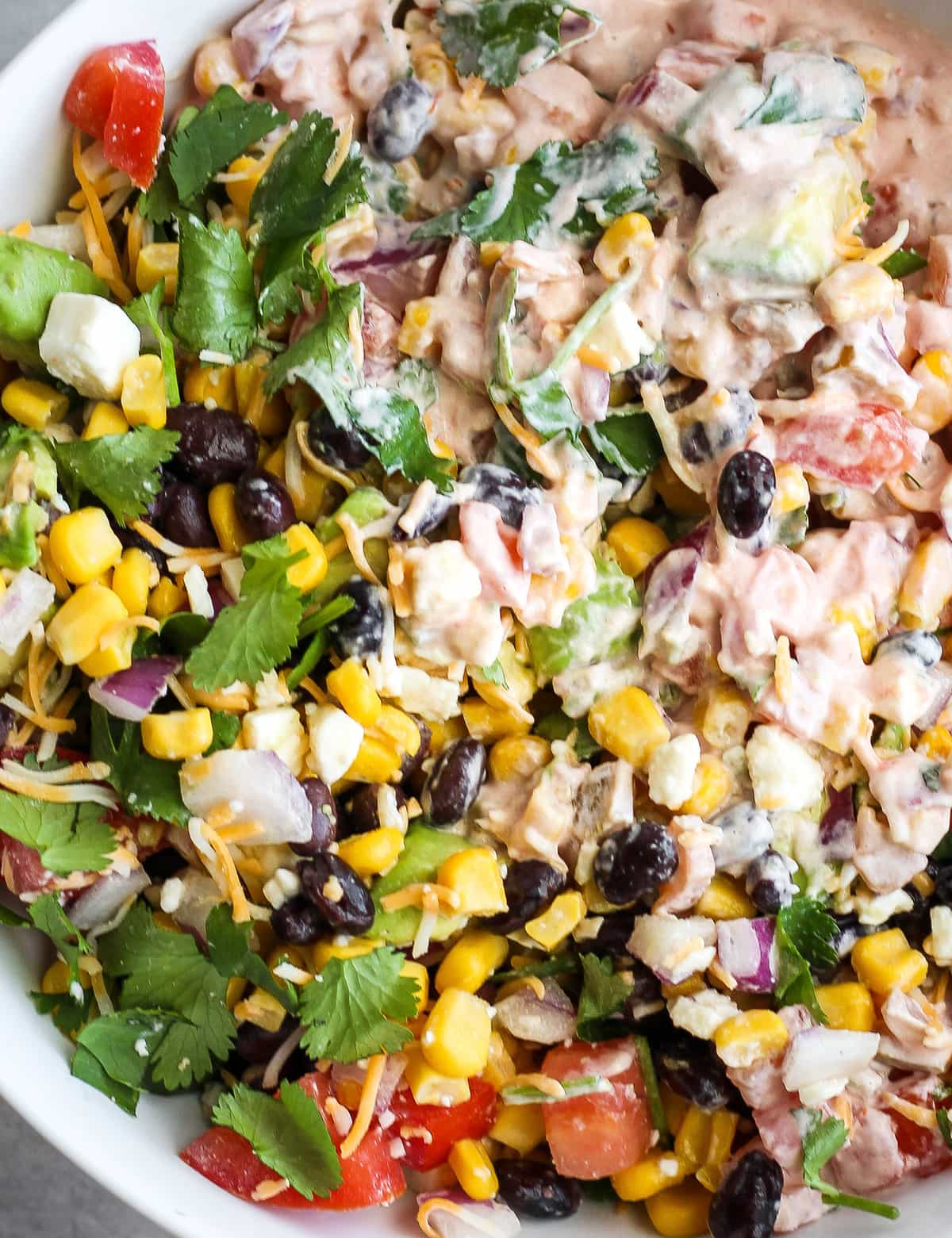 fiesta mexican dip mix with black beans, cilantro, corn, and more