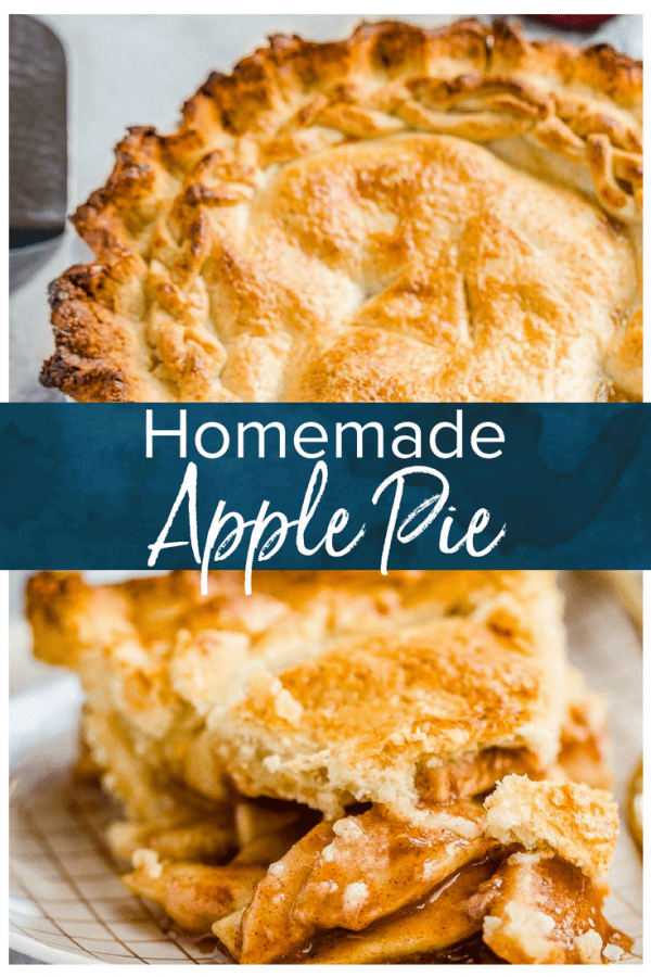 Homemade Apple Pie is one of the coziest, homiest desserts I can think of! Fresh, warm apple pie from scratch (with homemade apple pie crust) is the ideal Thanksgiving dessert. This easy homemade apple pie recipe makes it simple to bake a fresh pie for any occasion!