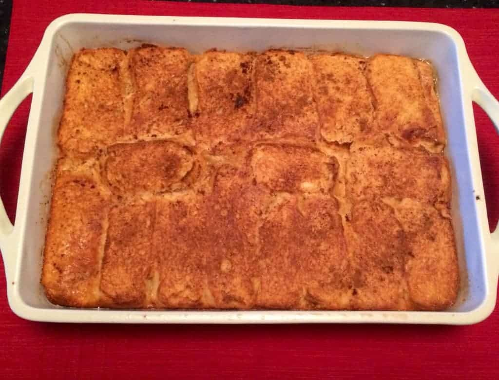 overnight french toast in a baking dish