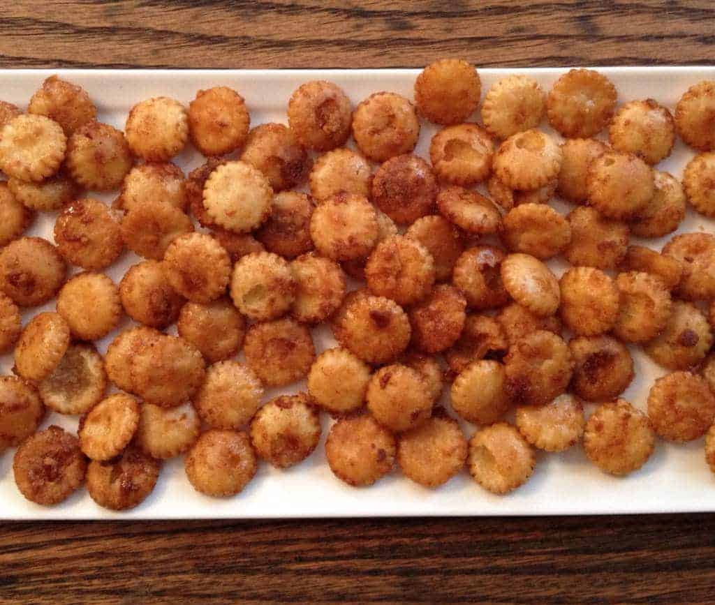 Sriracha maple oyster crackers on tray