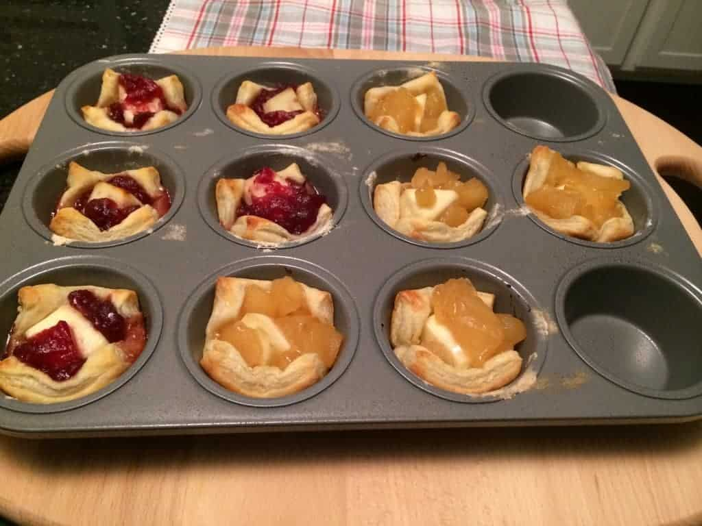 Apple and Cranberry Brie Bites still in the pan.