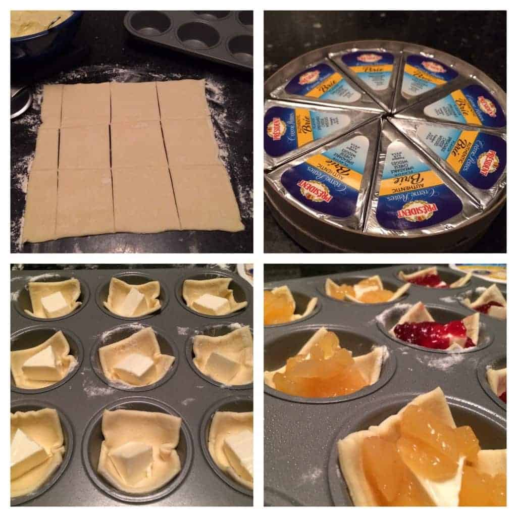 Montage of the steps to make Apple and Cranberry Brie Bites.