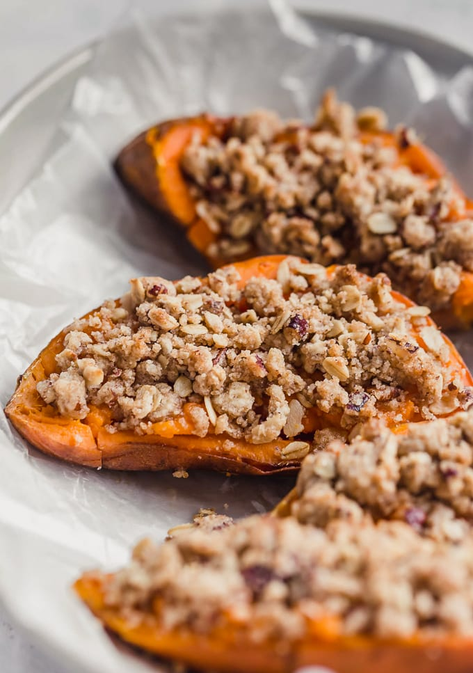 Twice baked sweet potatoes with a pecan topping