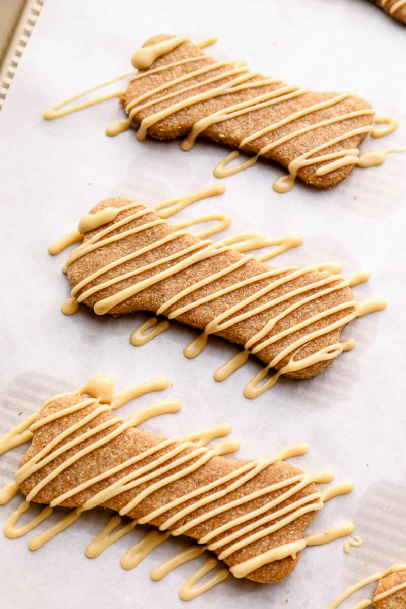 dog treats drizzled with dog friendly icing