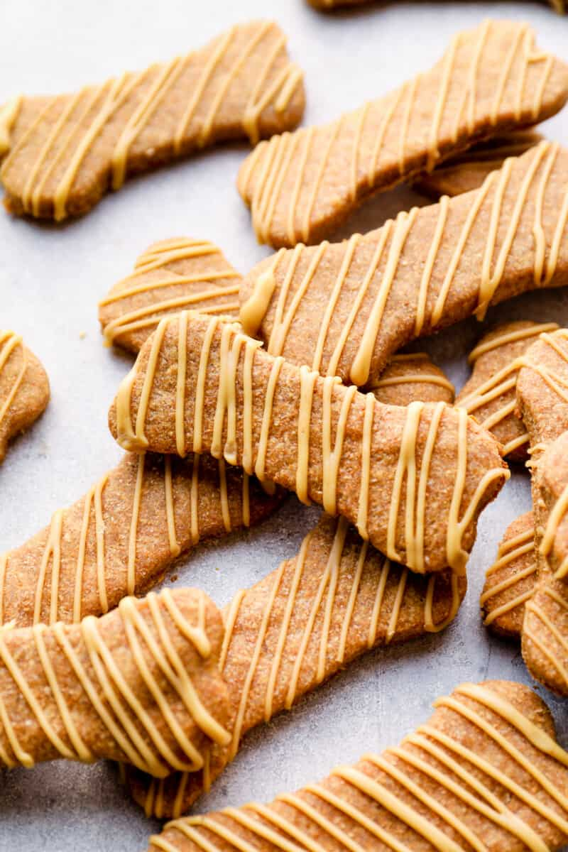 homemade dog treats drizzled with dog friendly icing