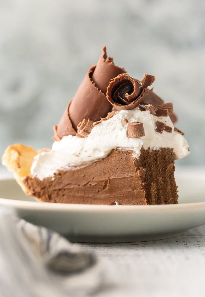 french silk pie recipe on a plate