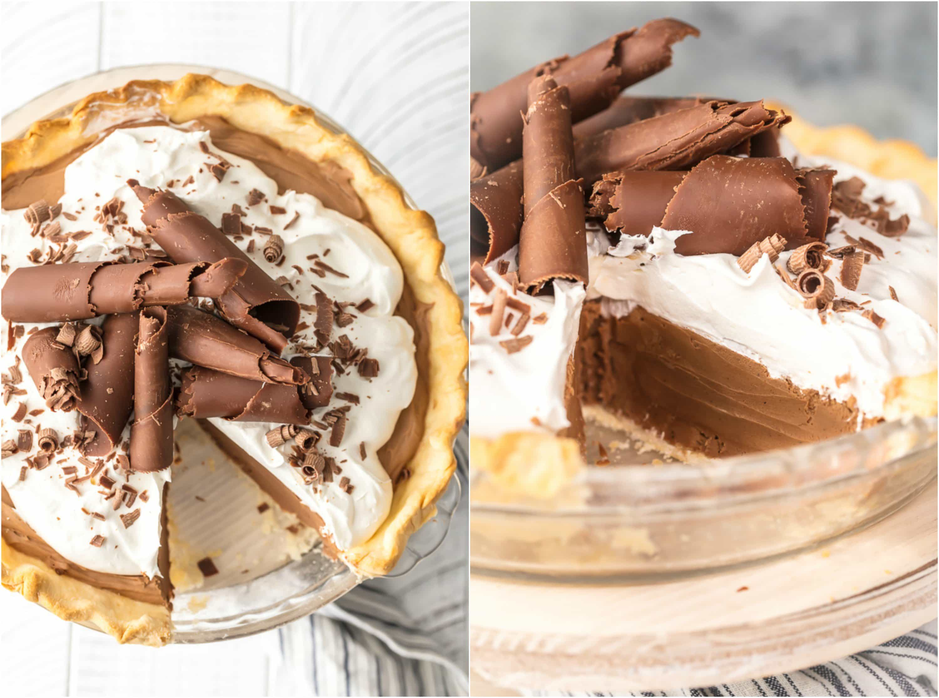 overhead picture of french silk pie